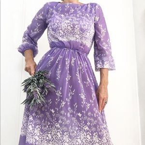 Vintage Lavender Accordion Pleated Dress 70s